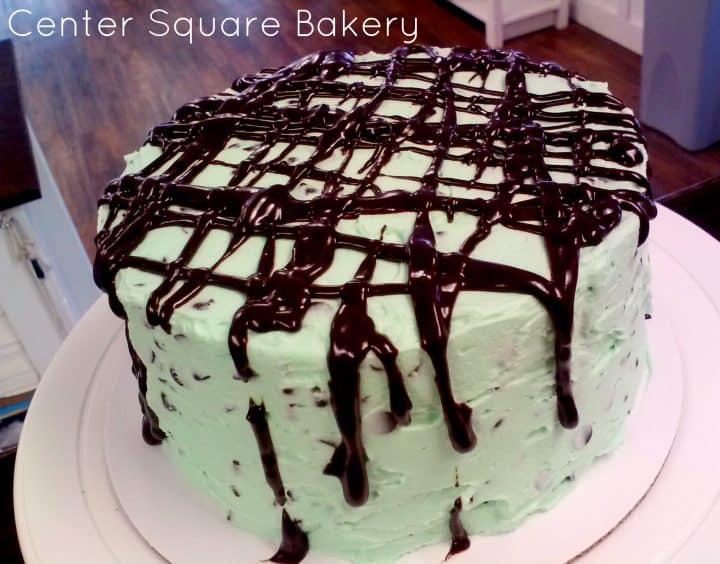 mint chocolate chip cake drizzled in chocolate on a serving cake plate