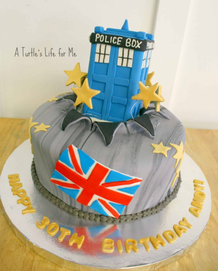 dr doctor who birthday cake fondant tardis 1