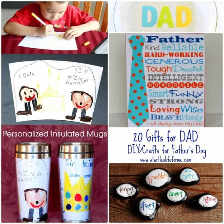 A collage of various homemade father's day gifts with text that says 20 Gifts for Dad - DIY Crafts for Fathers Day