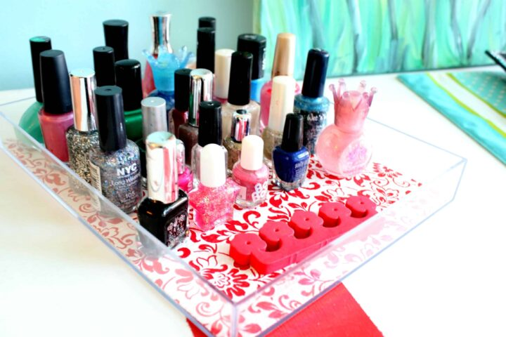 duck tape shelf liner nail polish