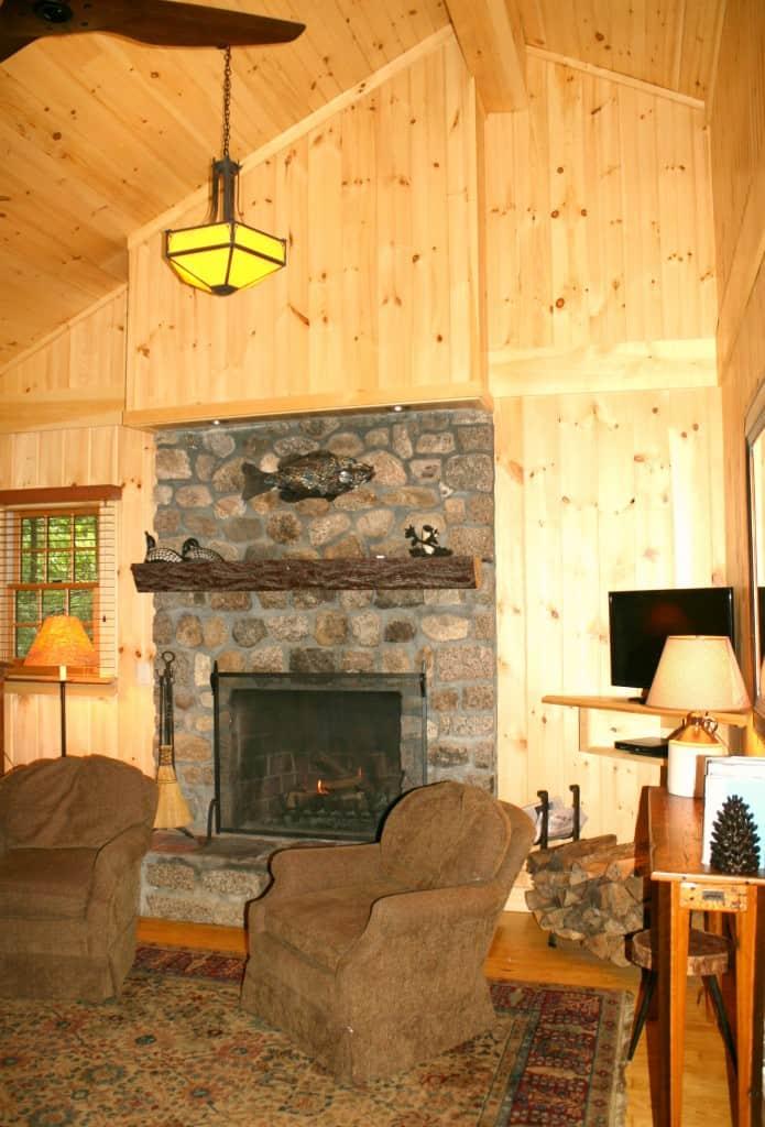 migis lodge maine ridge cottage living room