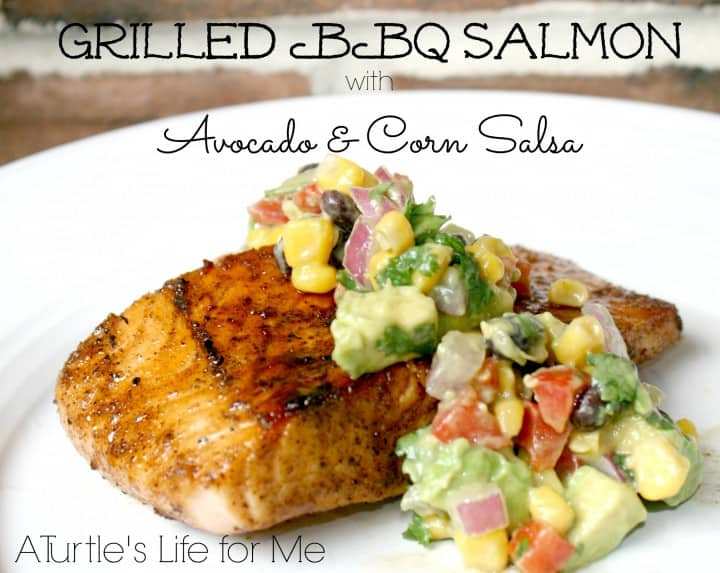grilled bbq salmon avocado corn salsa-