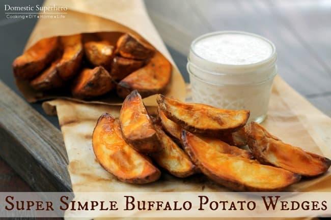 Super Simple Buffalo Potato Wedges