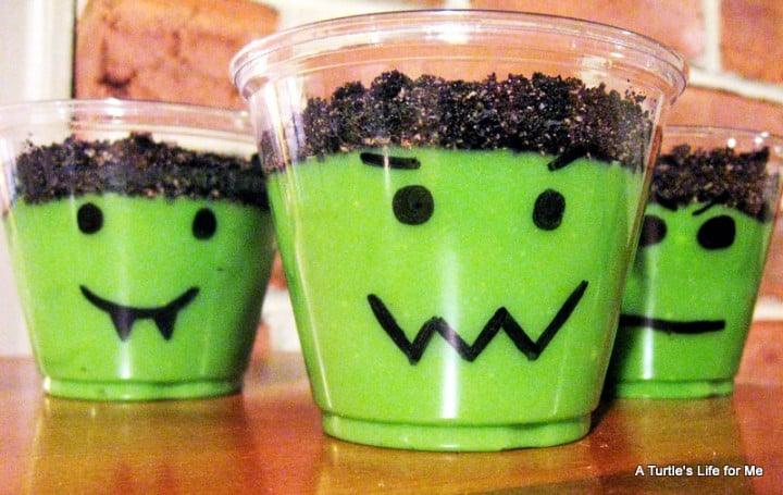 frankenstein pudding cups halloween dessert school snack