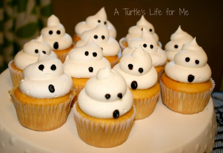 halloween birthday party ghost cupcakes