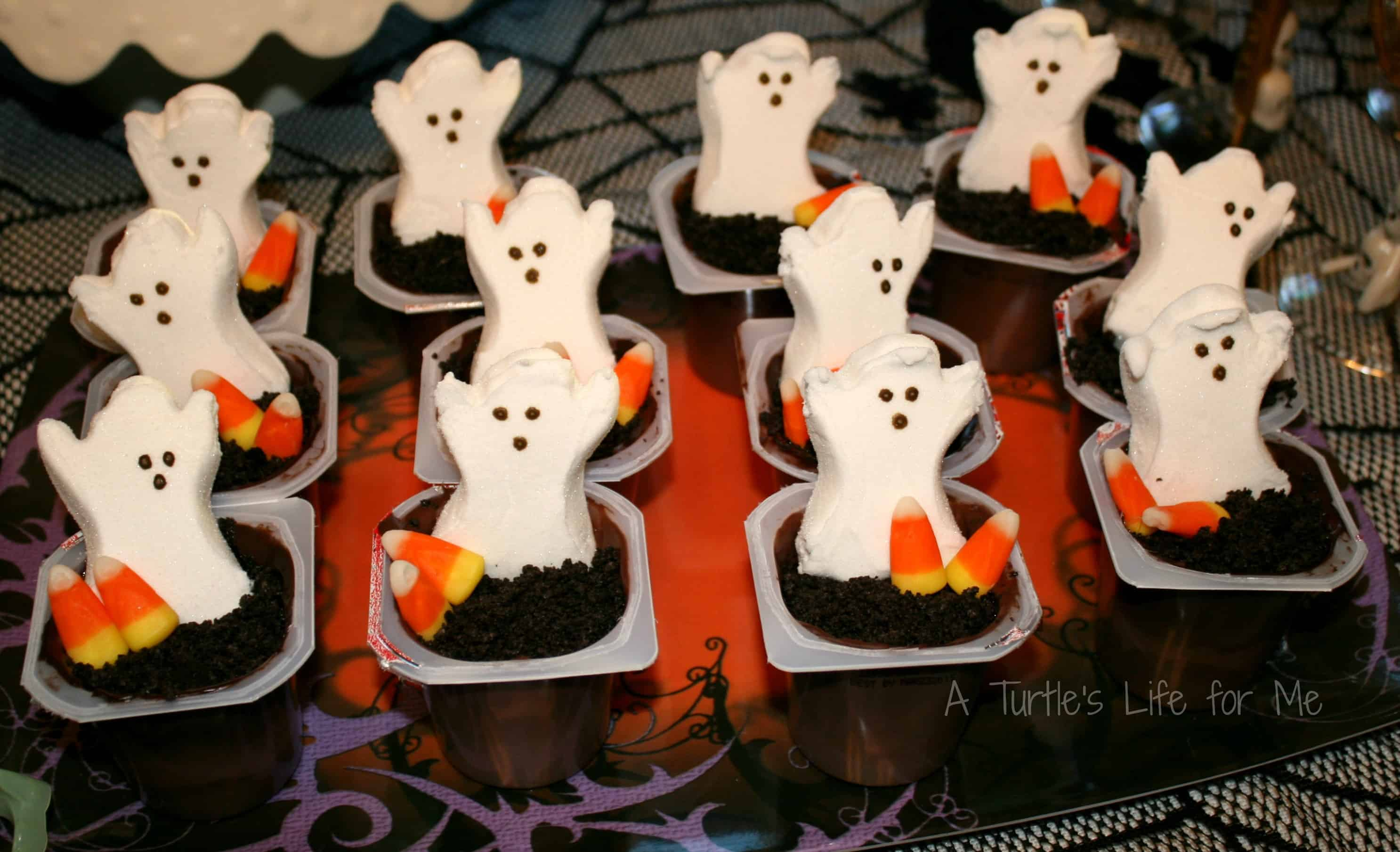 Halloween Birthday Party Pudding Ghost Graveyard Snacks Wm
