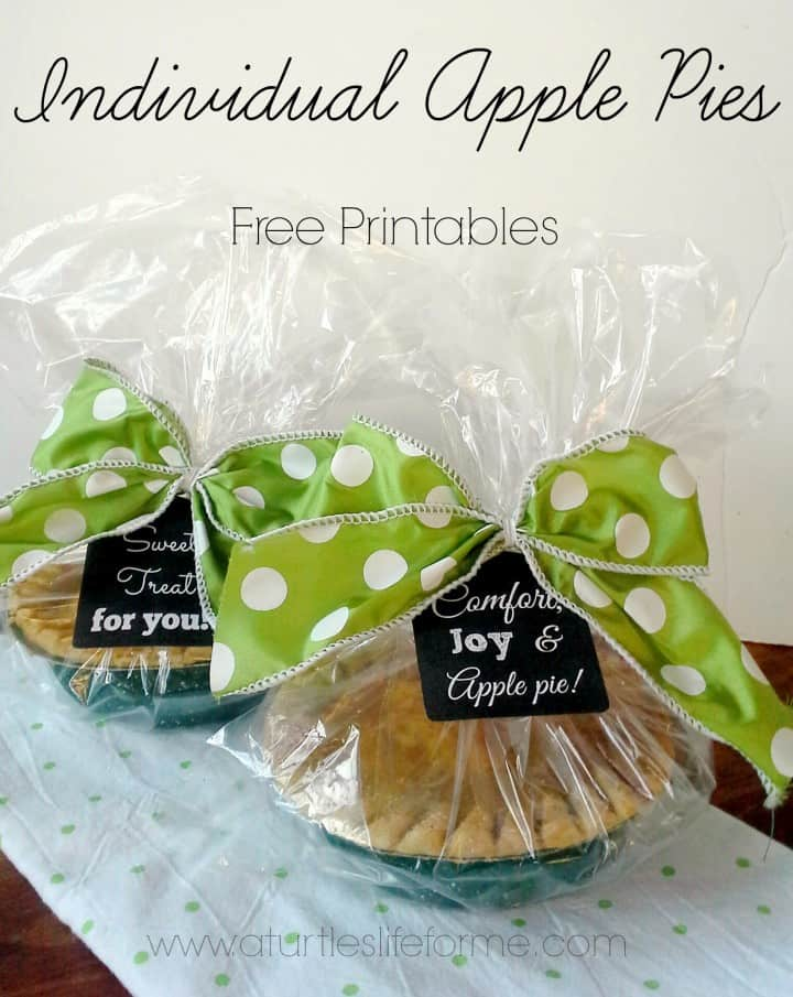 individual apple pies mini gift free printable tags