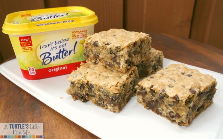oatmeal chocolate chip cookie bars I can't believe It's not butter