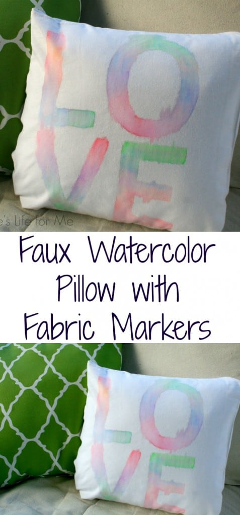 faux watercolor pillow fabric markers and tote bag