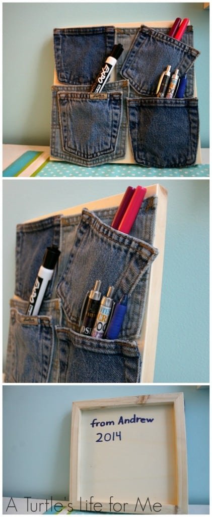 recycled jeans art holder