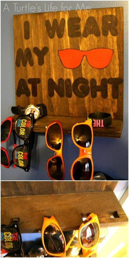wooden sunglasses wall rack