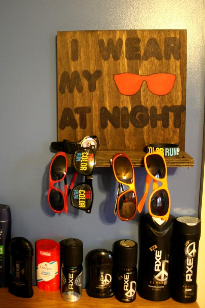wooden wall sunglasses holder with axe