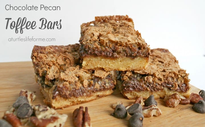 Chocolate Chip Toffee Pecan Bars- A Turtle's Life for Me