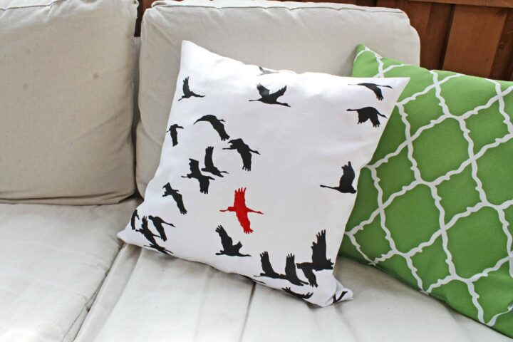 bird pillow paint your own stencil