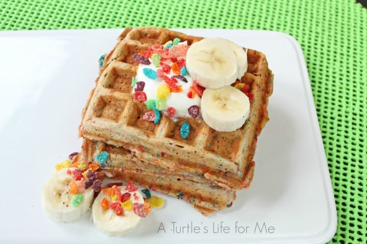 Fruity Pebbles Banana Waffles Recipe- A Turtle's Life for Me