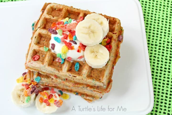 Fruity Pebbles Waffles with Bananas Recipe- A Turtle's Life for Me