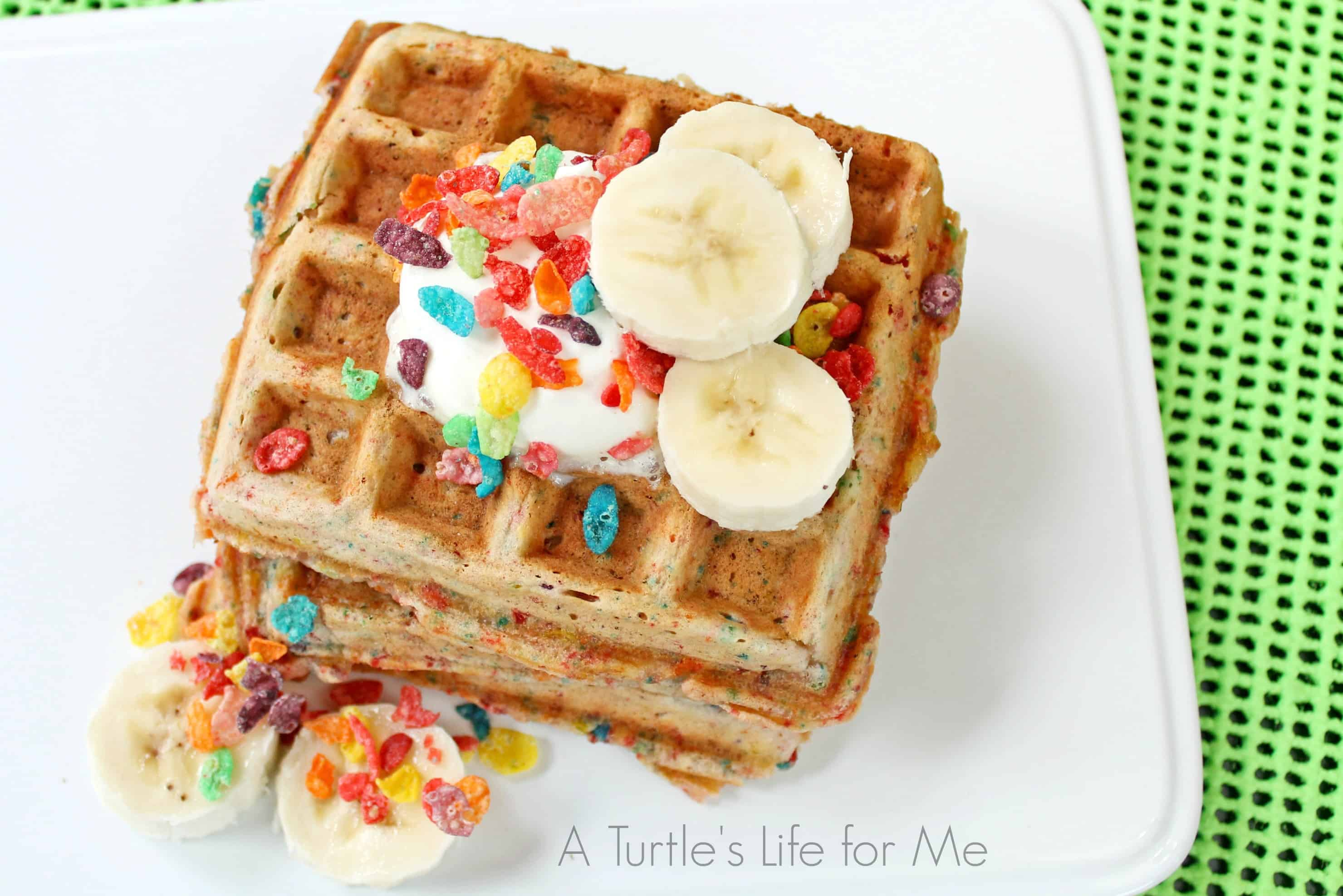 Fruity pebbles banana waffles recipe a turtle 39 s life for me for Fruity pebbles alcoholic drink