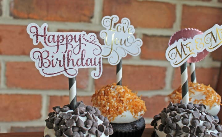 minc gold foil machine birthday cupcake toppers