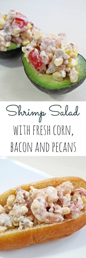 shrimp salad with fresh corn, bacon and pecans