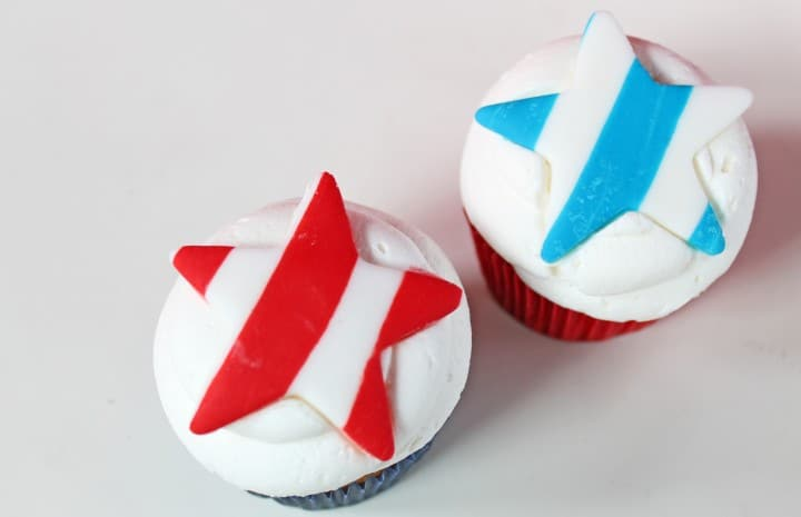 4th of July Cupcake Fondant Toppers