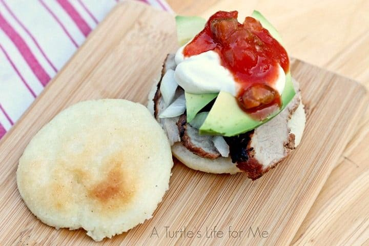 These arepas are only 3 ingredients: cornmeal, water and salt! That's it! Gluten-free and they taste delicious!