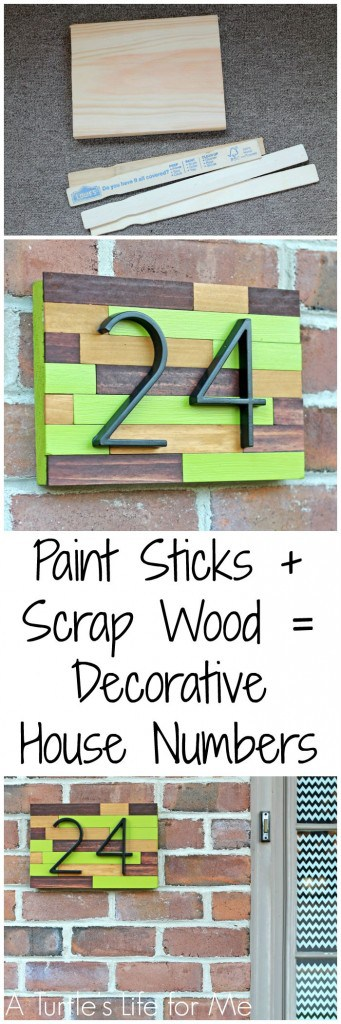 Paint Stick and Scrap wood make a cheap and easy way to add some curb appeal to your front door