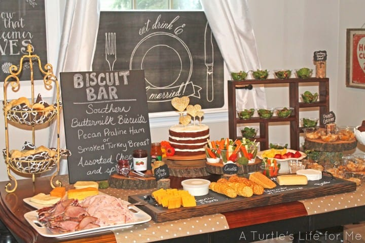 Rustic Bridal Shower food table