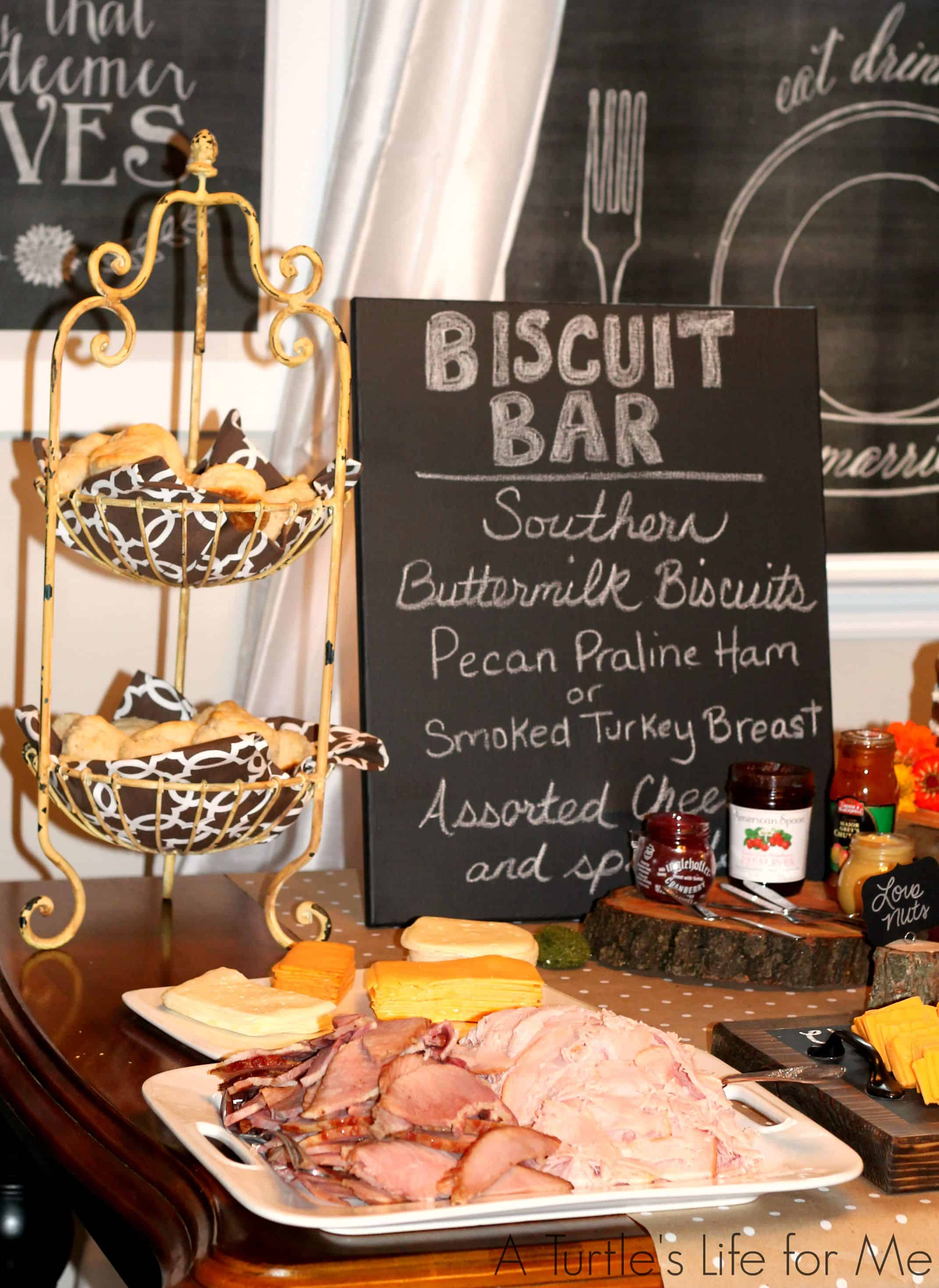 biscuit bar for a rustic bridal shower