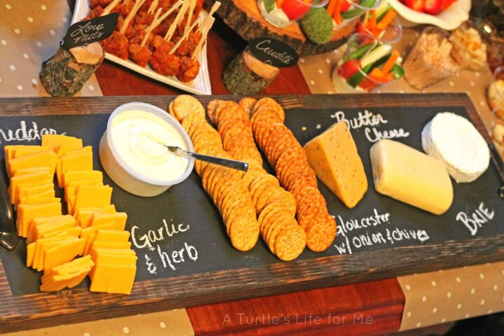 rustic wooden cheese tray
