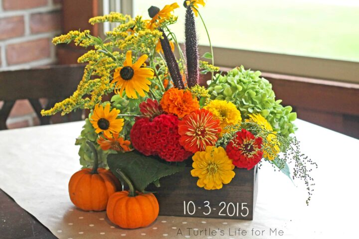wood centerpiece floral arrangements