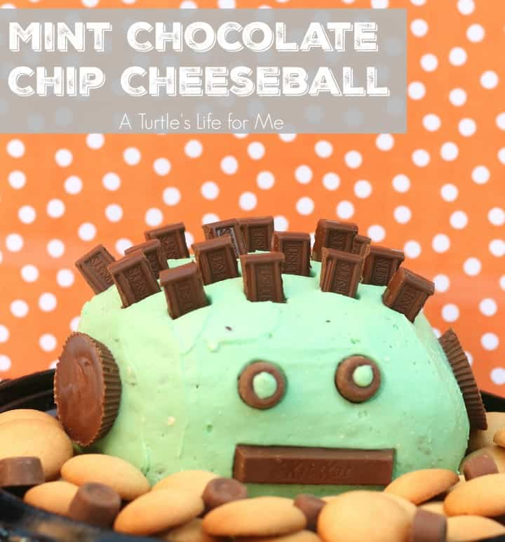 Mint Chocolate Chip Cheeseball with Hersheys Candy for Halloween