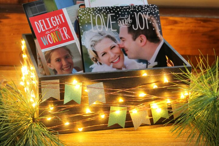 Christmas Card Display with LED Lights