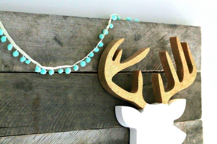 Deer silhouette glitter antlers
