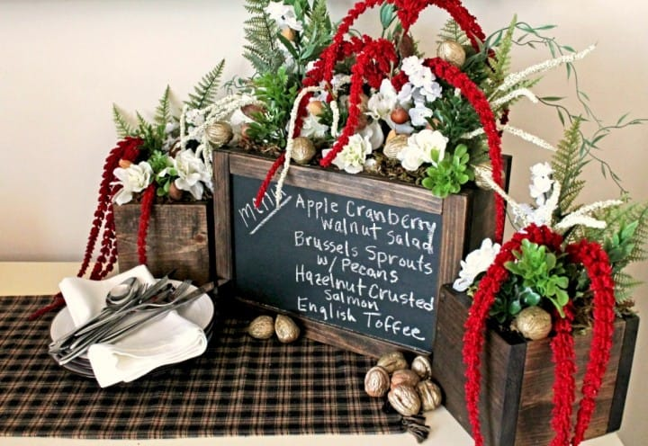 Holiday Menu Centerpiece made from scrap wood and paint sticks! Super simple assembly, but looks great and expensive!