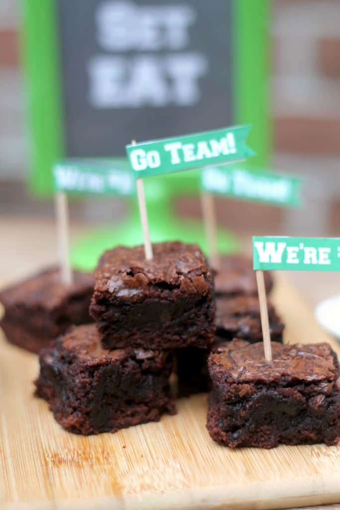 fudge brownies with toothpick flags for a football party