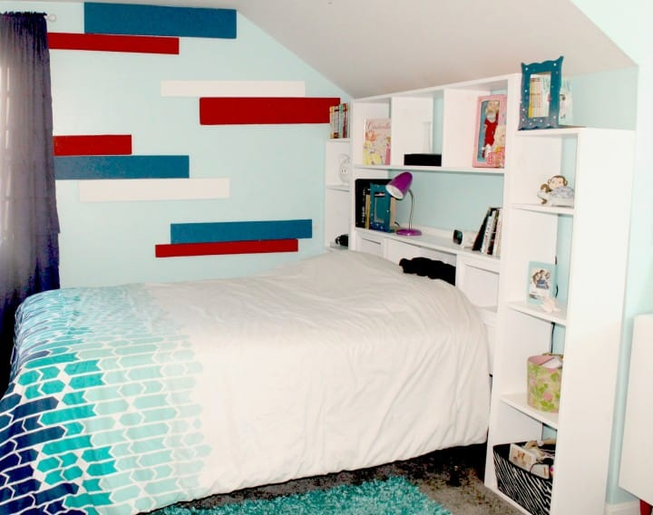 Turn an old-fashioned headboard into a modern wall unit!