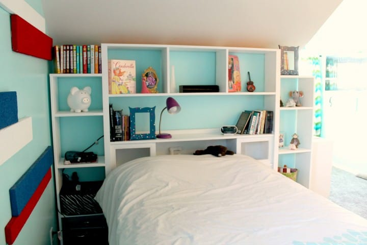 headboard bookshelf makeover