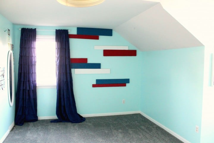 tween girl bedroom striped wall