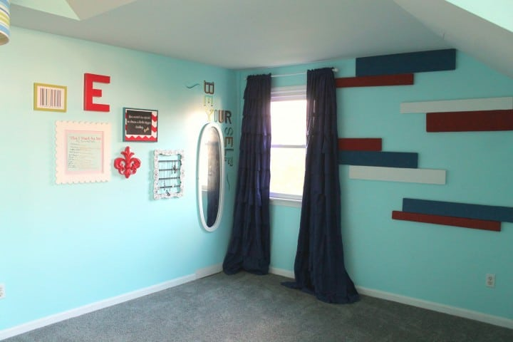 tween girl bedroom striped walls
