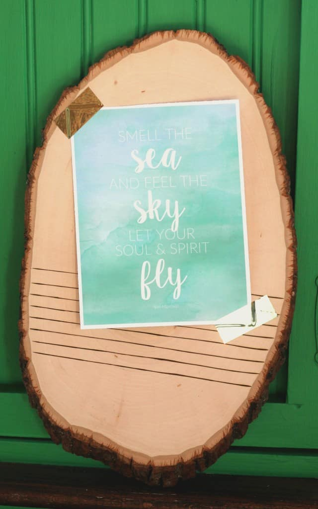 wood slice with quote