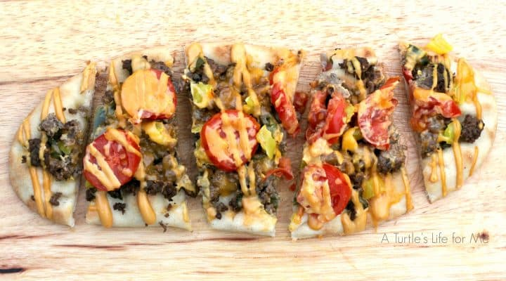 Cheeseburger Flatbread Slices- A Turtle's Life for Me