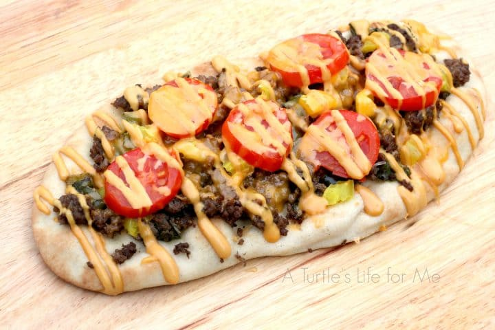 Cheeseburger Flatbread recipe- A Turtle's Life for Me