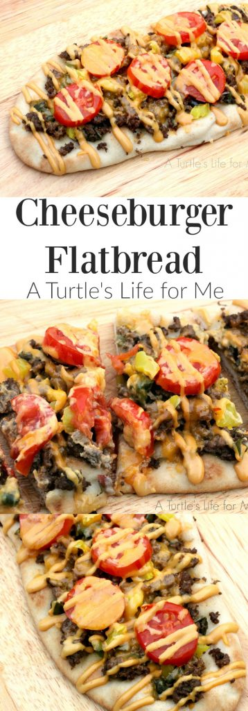 Cheeseburger Flatbread recipe with special drizzle