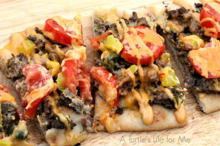 Cheeseburger Flatbreads with drizzle- A Turtle's Life for Me