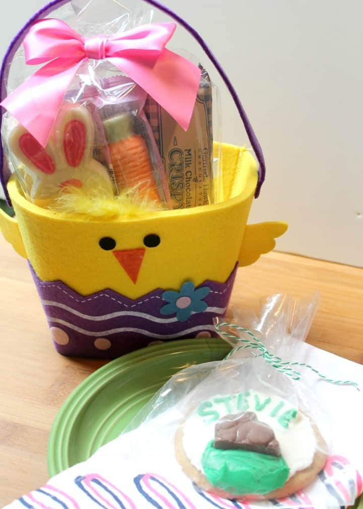 Easter place setting with personalized cookies and Gertrude Hawk basket