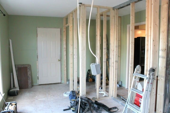 dining room during framing