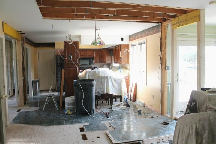 living room into kitchen during demo