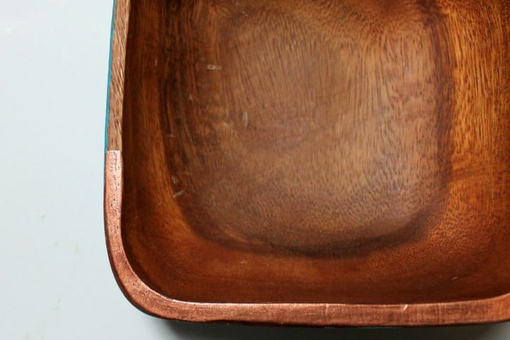 wood bowl copper trim
