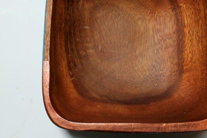 wood bowl copper trim