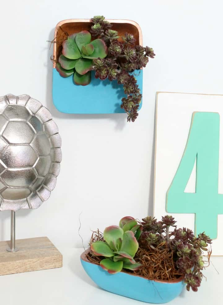 Use old salad bowls from the thrift store to make these gorgeous wood planters for faux succulents!